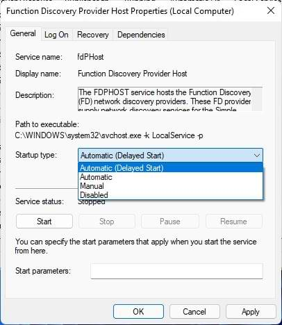 Enable services for network sharing